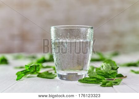 Glass Of Fresh Cold Water With Mint On Table