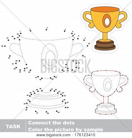Winner trophy cup in vector to be traced by numbers, the easy educational kid game with simple game level, the education and gaming for kids, visual game for children.