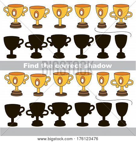 Funny Winner Cups with shadows to find the correct one. Game to compare and connect objects and their true shadows, the educational kid gaming, logic game with simple game level for preschool children