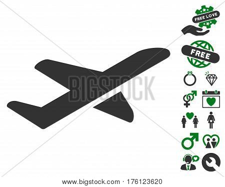 Airplane Takeoff icon with bonus lovely icon set. Vector illustration style is flat iconic green and gray symbols on white background.