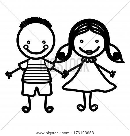 sketch silhouette couple boy with hairstyle and girl with hair pigtails vector illustration