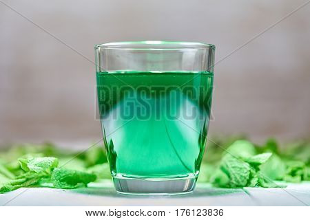 Intensive Green Mint Drink On White Table
