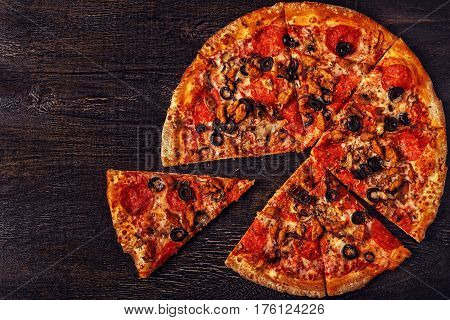 Pizza With Mozzarella Cheese, Pepperoni, Minced Meat, Mushrooms.