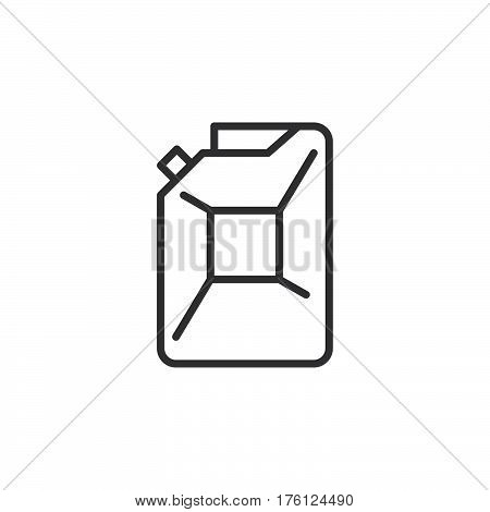 Petrol jerrycan line icon outline vector sign linear pictogram isolated on white. Symbol logo illustration