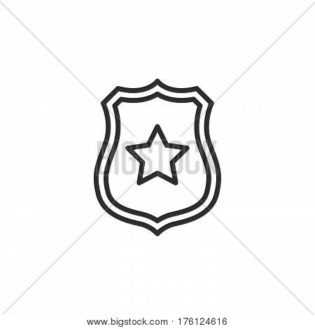 Sheriff badge with star line icon outline vector sign linear pictogram isolated on white. Public safety symbol logo illustration