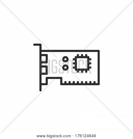 Expansion card line icon outline vector sign linear pictogram isolated on white. Computer parts symbol logo illustration