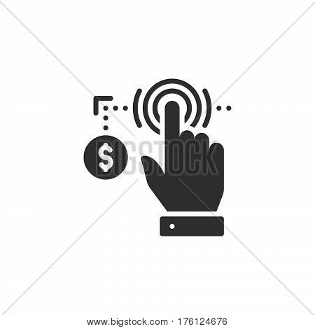 Hand using touch screen and coin icon vector filled flat sign solid pictogram isolated on white. Pay per click symbol logo illustration