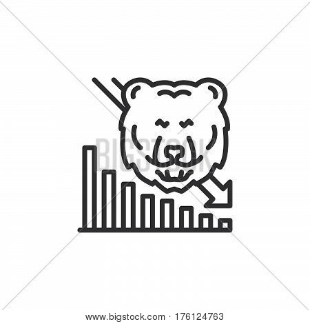 Stock market going down line icon outline vector sign linear pictogram isolated on white. Bear trend symbol logo illustration