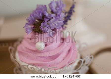 Cake with pink cream natural lavender flower