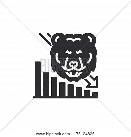 Stock market going down icon vector filled flat sign solid pictogram isolated on white. Symbol logo illustration