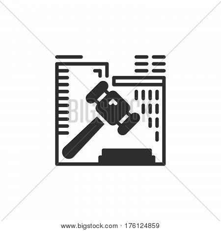 Auction hammer icon vector filled flat sign solid pictogram isolated on white. Symbol logo illustration