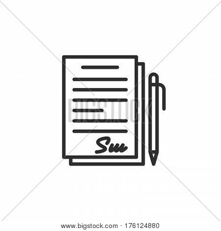 Signed contract document line icon outline vector sign linear pictogram isolated on white. Symbol logo illustration