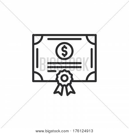 Stock share certificate line icon outline vector sign linear pictogram isolated on white. Bonds securities symbol logo illustration