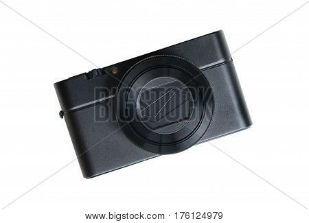 Black compact Camera isolated on white background