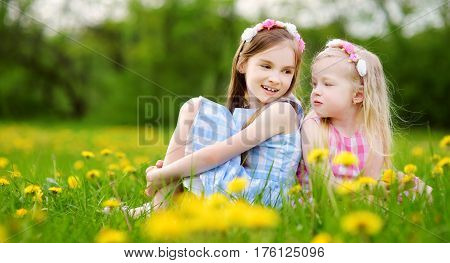 Adorable Little Girls Wearing Wreaths In Blooming Dandelion Meadow On Beautiful Spring Day