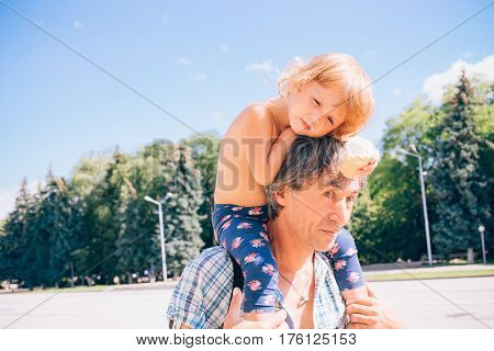 Happy Father And Daughter Together, Concept Of Children And People.