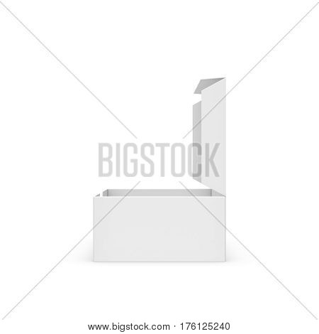 3d rendering of a white rectangular box with an opened attached lid on white background. Package and delivery. Boxes and containers. Sending mail.