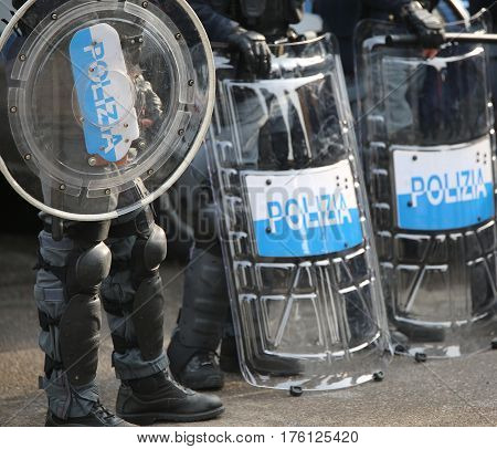 Police With Shields And Riot Gear During The Sporting Event