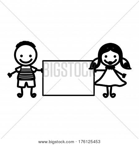 sketch silhouette couple boy with hairstyle and girl with hair pigtails with banner vector illustration
