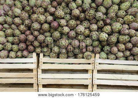 Artichokes And Boxes For Sale At The Grocery Store
