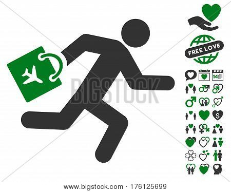 Late Airport Passenger icon with bonus love images. Vector illustration style is flat iconic green and gray symbols on white background.