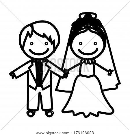 sketch silhouette married couple icon vector illustration