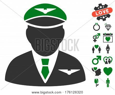 Pilot icon with bonus valentine pictograms. Vector illustration style is flat iconic green and gray symbols on white background.
