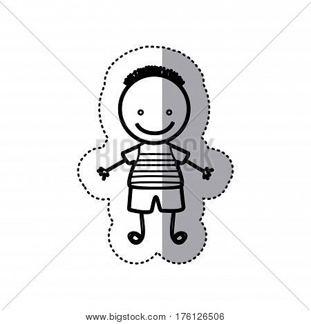 sticker sketch silhouette caricature boy with hairstyle vector illustration