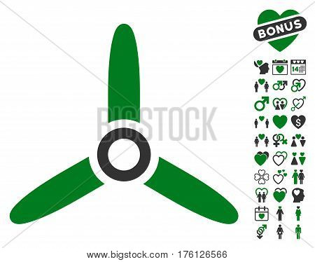 Three Bladed Screw pictograph with bonus valentine icon set. Vector illustration style is flat iconic green and gray symbols on white background.