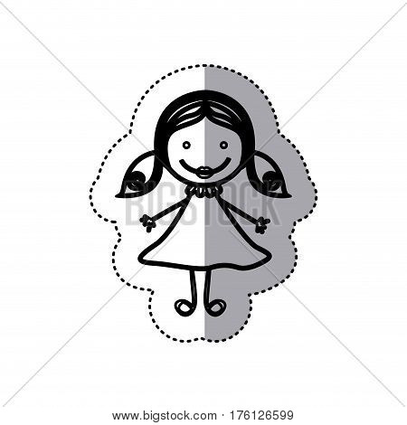sticker sketch silhouette caricature girl with hair pigtails vector illustration