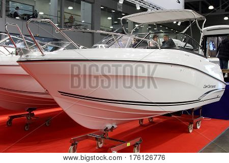 MOSCOW - MARCH 09 2017: Boat Jeanneau Cap Camarat 6.5 BR for 10 International boat show in Moscow. Russia.
