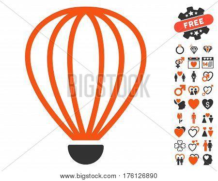 Aerostat icon with bonus lovely symbols. Vector illustration style is flat iconic orange and gray symbols on white background.