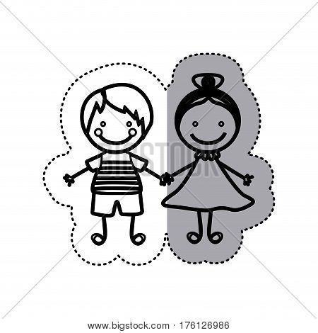 sticker sketch silhouette caricature couple boy with straigth hair and girl with collected hair vector illustration