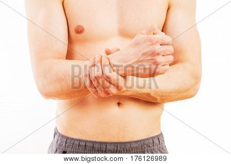 Man With Wrist Pain Over White Background