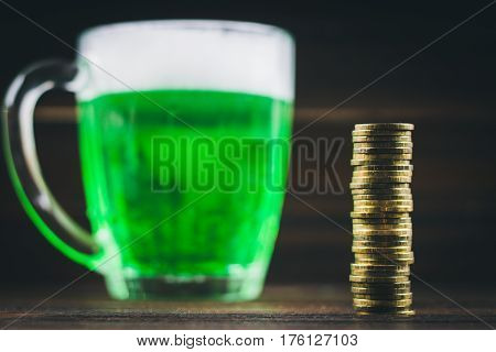A Mug Of Green Beer On The Table. Clover Leaves. Chest Of Gold, Coins Pile. St.patrick 's Day.