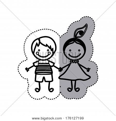 sticker sketch silhouette caricature couple boy and girl with hair tail vector illustration