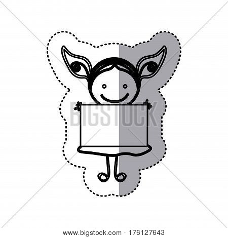 sticker sketch silhouette caricature girl with dress and placard vector illustration