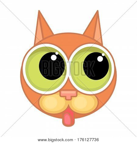 Cartoon cat face icon with big eyes and contour isolated on white background. The cat shows the tongue.