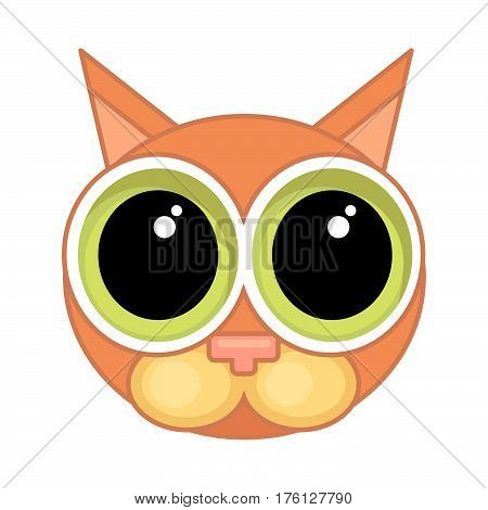 Cartoon cat face icon with wide open big eyes and contour isolated on white background. Emotional icon guilt apology.