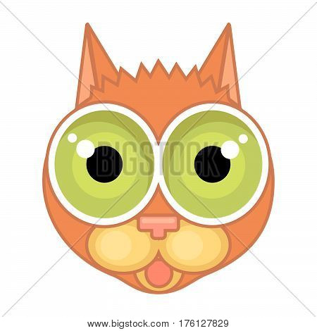Cartoon icon of cat face with surprise funk on face and outline isolated on white background.