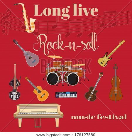 Vector set of rock and roll music instruments. Long live Rock and roll template. Grand piano drum kit guitar bass guitar sax double bass treble clef in flat style