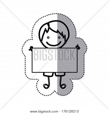 sticker sketch silhouette caricature boy with straight hair and banner vector illustration