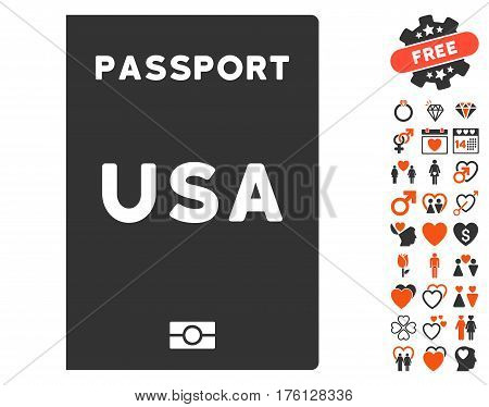 American Passport pictograph with bonus dating symbols. Vector illustration style is flat iconic orange and gray symbols on white background.