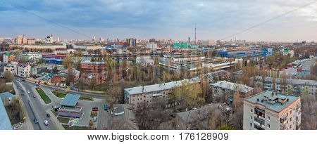 Panorama cityscape view from rooftop of Voronezh in cloudy day