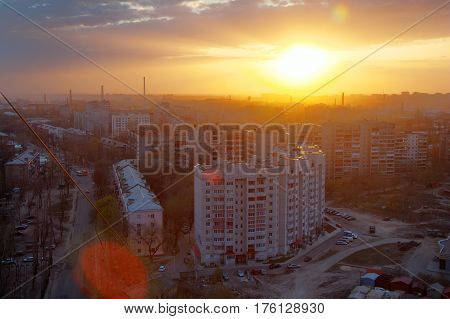 Evening sunset in Voronezh residential area from rooftop