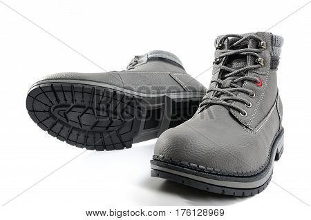 Closeup Of Winter Men's Shoes.