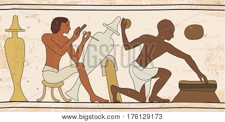 Vector illustration of Egyptian national drawing. Slaves artisans work in the workshop.