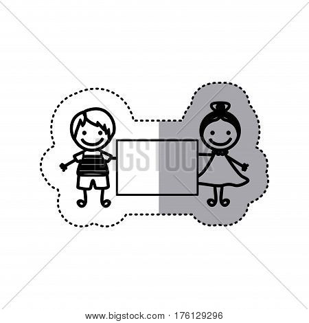 sticker sketch silhouette caricature couple boy with straigth hair and girl with collected hair and banner vector illustration