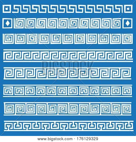 Set of the seamless volume vector Greek ornament isolated on a white background for graphic design.
