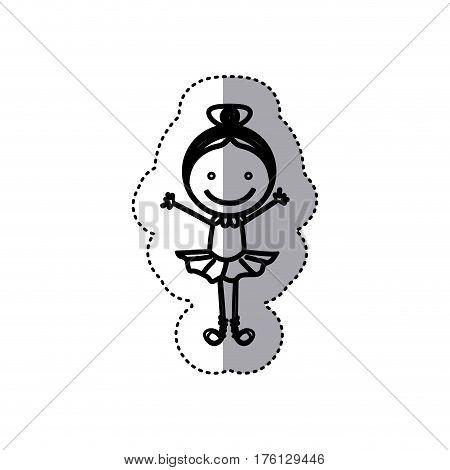 sticker sketch silhouette caricature girl ballet dancer vector illustration